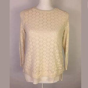 Lucky Brand Crochet Layered Sweater Top Size XS